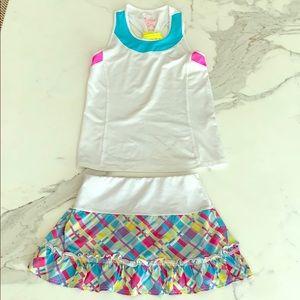 Lucky in Love tennis skirt & top set, girls sz 7-8
